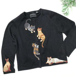 MICHAEL SIMON | sz M embellished cat cardigan